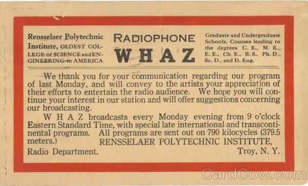 Radiophone WHAZ Postal Card
