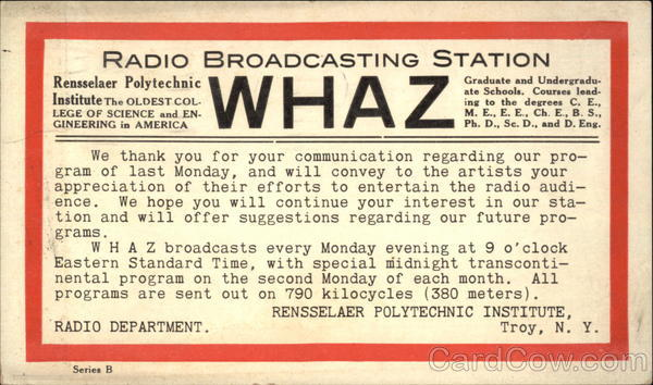WHAZ Renssealer Polytechnic Radio Broadcasting Station