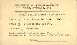 Troy Chapter R.P.I Alumni Association 1953