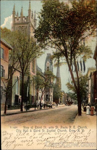 View of Third St. with St. Pauls P.E. Church, City Hall & Third St. Baptist Church