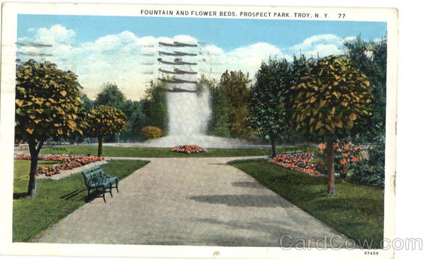 Fountain and Flower Beds, Prospect park