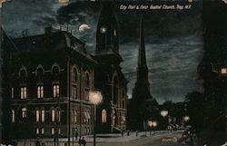 City Hall & First Baptist Church at Night
